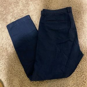 Navy linen/cotton slacks, j crew, 36 x32